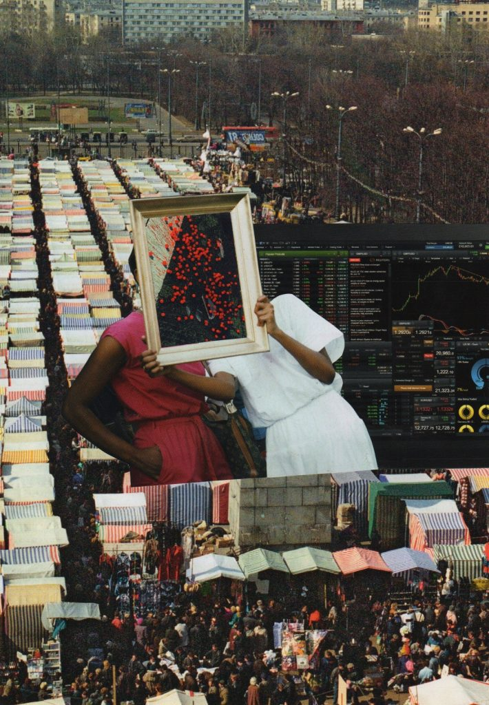 Photo omntage in muted colours. Figures superimposed onto a market and a computer screen