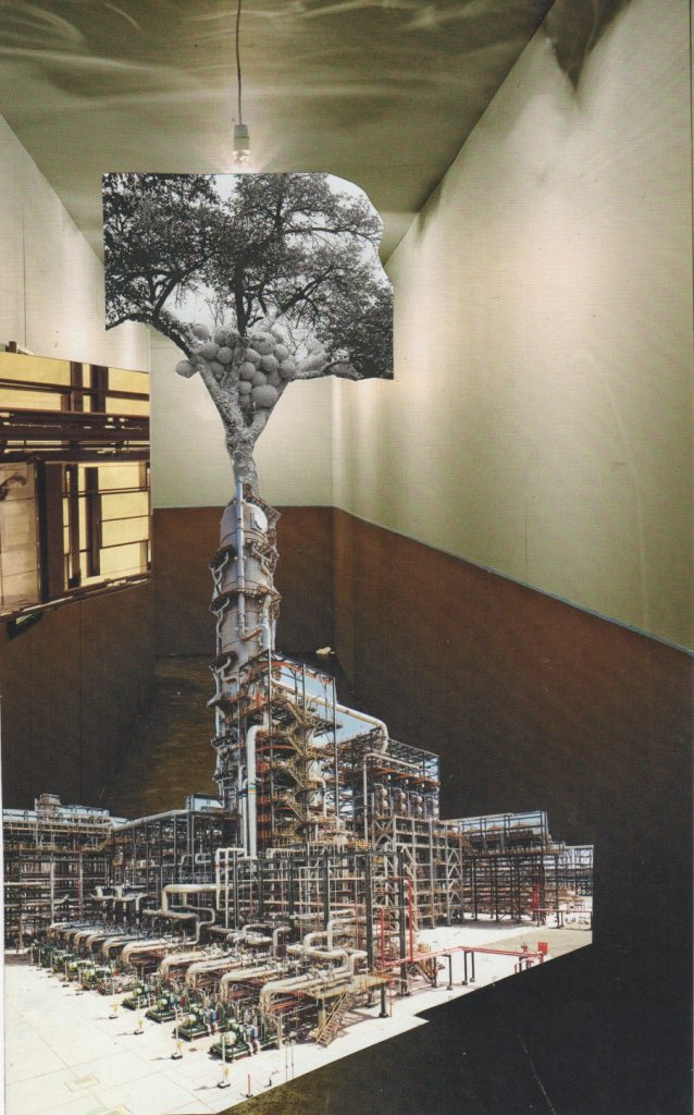 Photo montage in muted colours with a tree, indutrial plant, and corridor