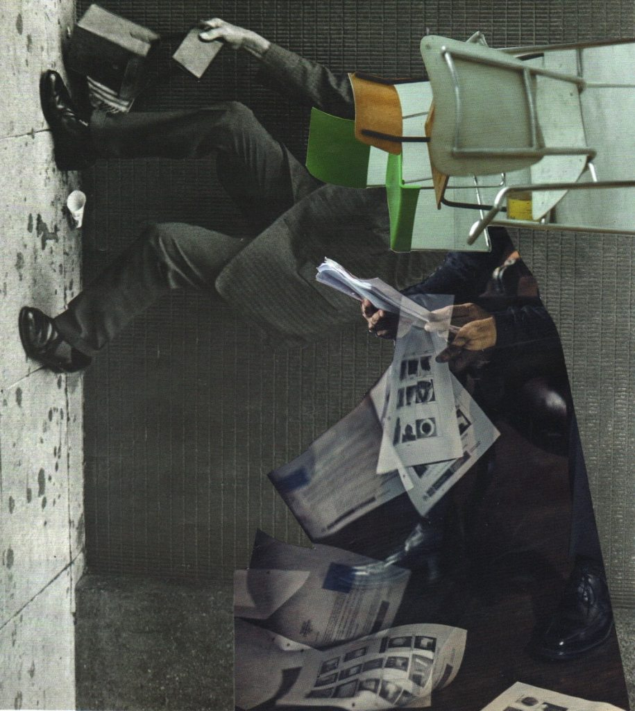Photo montage in dark colours, figures dropping papers and chairs