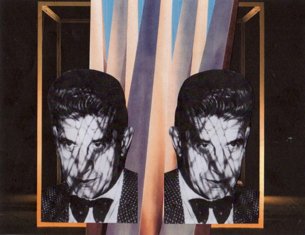 photo montage - muted colours with Lacan's face floating in a rectangular structure
