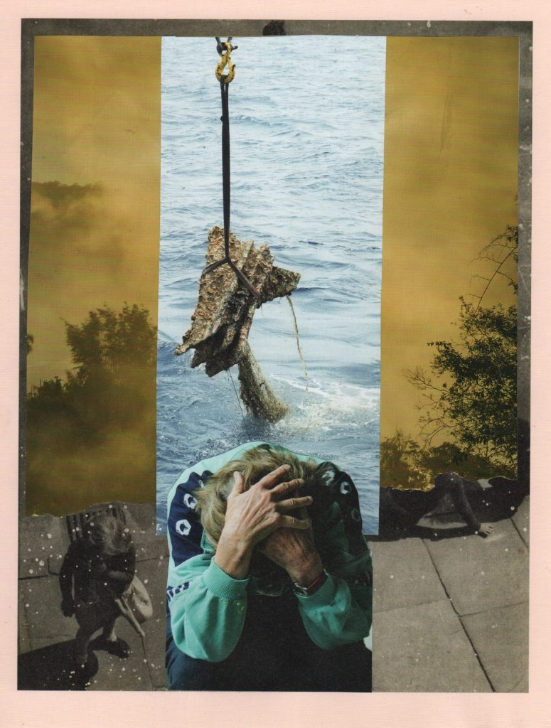 Photo montage in yellow and turquiose. Figure with head in hands superimposed onto misty tress and debris being lifted from water