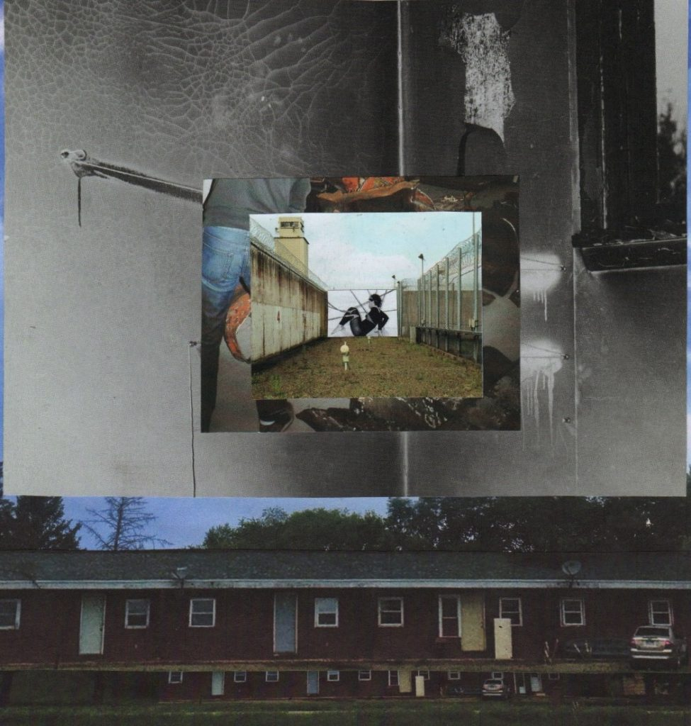 Photo montage of various iages layered on top of each other, muted colours, two obscured figures and midwest houses