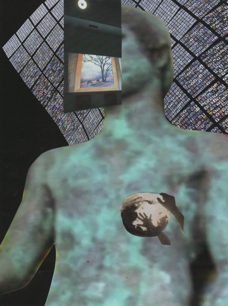 photo montage muted colours. The torso of a figurative metal sculpture in the background, with a photo over its face
