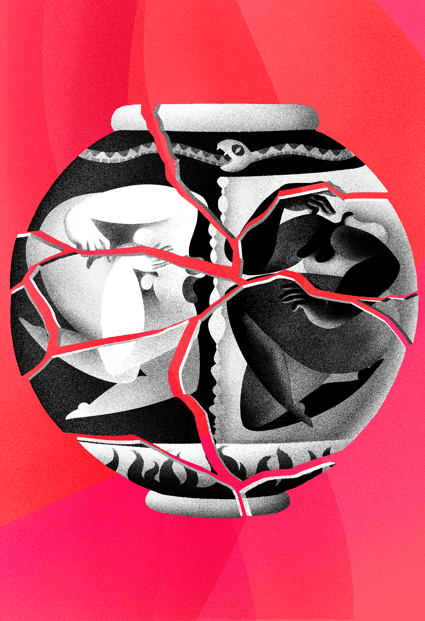 A digital illustration depicting a broken vase in numerous pieces, a black figure and a white figure woven into the black and white pattern. Pink background.